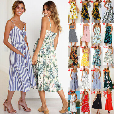 UK Womens Beach Ladies Floral Sundrs Summer Strappy Holiday Midi Dress Cami Top