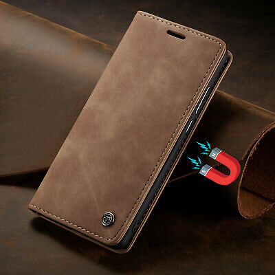 For iPhone 5 SE 6 7 8 Plus XR XS Magnetic Genuine Leather Wallet Flip Case Cover
