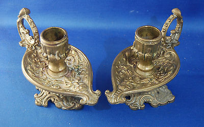 Pair of antique Victorian gothic beast, devil, satyr brass chamber candlesticks