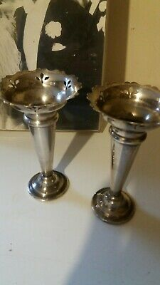"Pair Of Vintage 5"" 12Cm Epns Silver Plated Bud Vases Filigree Cut Outs"