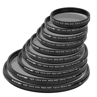 ZOMEI 52/55/58/62/67/72/77/82mm Adjustable Neutral Density Camera Filter ND2-400
