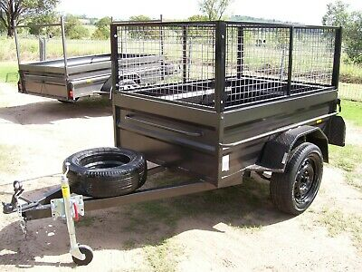 Aust 6x4 H/D Highside Box Trailer With Removable Cage Leds Jockey & Spare Tyre.