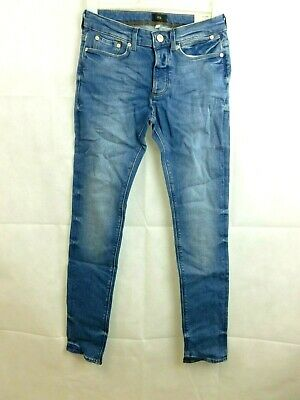 River Island Mid Blue Wash Fade Skinny Sid Jeans Size 28r rrp £35 CR094 AA 05