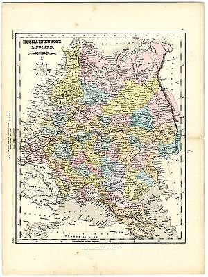 1868 Antique Map RUSSIA Ukraine Crimea Estonia Lithuania Latvia by J. Archer