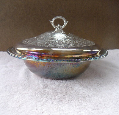 Vintage FB Rogers Silver Plate Covered Dish With Pyrex Insert