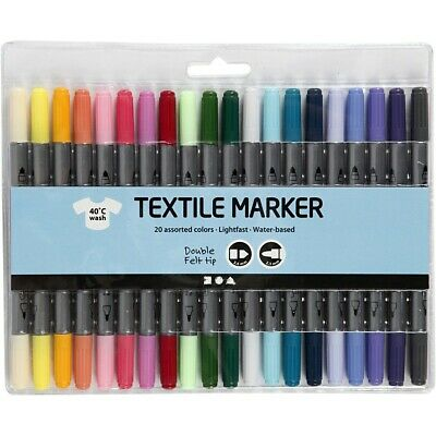 20 Pastel Textile Marker Pens - Strong for Fabric, Permanent, Double Tipped