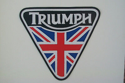 Triumph Union Jack patent plate back patch.10 inch. Synthetic leather. NEW NICE
