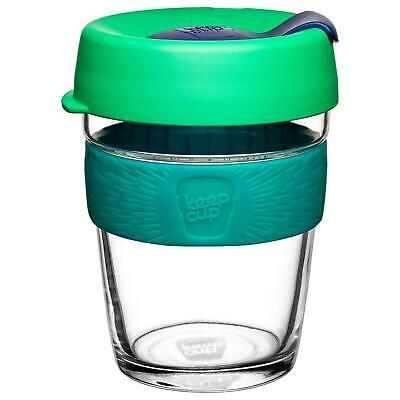 KeepCup Brew Reusuable Glass Coffee Cup Mug with Silicone Band 340ml 12oz Floret