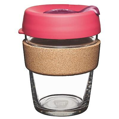 KeepCup Brew Reusuable Glass Coffee Cup Mug with Cork Band - 340ml 12oz, Flutter