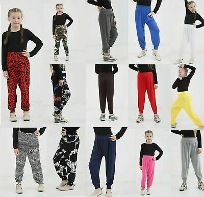 Girls Kids Harem Trousers Ali Baba Long Pants Baggy Printed Leggings Yoga Bottom
