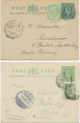 2441 1904/6 EVII two ½ D bluegreen postal stationery postcards uprated with ½ D