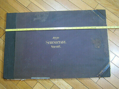 "1892 Schenectady CITY MAP ATLAS CUNNINGHAM ORIGINAL 18 MAPS  17.5 X 26"" SCOTIA"