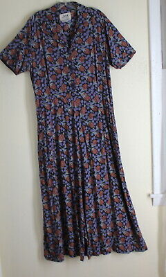 Flax Engelhart Sz M Vintage Rayon 30s Berry Funky Long Art-to-Wear Full Dress