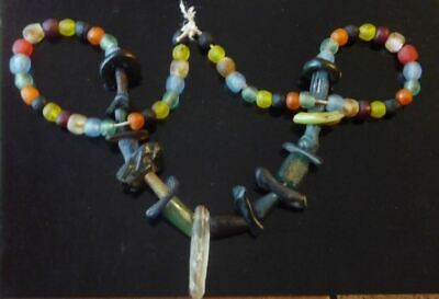 Ancient Roman lovely mixed color glass bead-fragment-africa Necklace 1st cen.