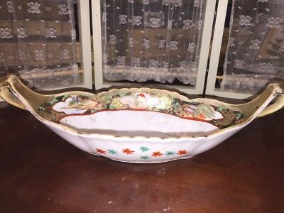 ANTIQUE Asian Bowl Boat Handled Hand Painted Very Old ORIENTAL SIGNED