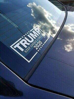Trump 2020 Decal White Vinyl Bumper Sticker Make Keep America Great Again Donald
