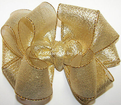Gold Hair Bow Solid Metallic Ribbon Baby Girls Toddler Flower Girl Pageant Clip