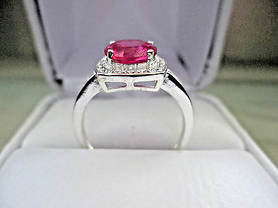Antique Style 14K White Gold over silver 2Ct (8mm)Lab.Created Ruby RING