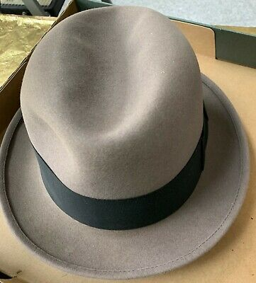 1de2a5b49c17a3 Sears Men's Fur Felt Hat Fedora 7 3/8 Harry Levinson Vintage controlled brim