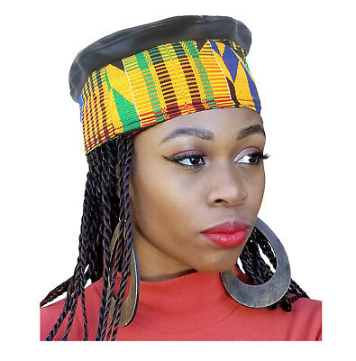 African Hand Woven Kente Kufi Hat With Faux Leather DPH342W