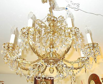 Spectacular 8 Arm Embossed Gilt Crystal Prism Chandelier: New Orleans Arch. Salv
