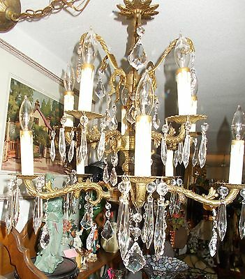Antique Brass Two Tier Ten Arm Fancy Cut and Faceted Crystal Prisms