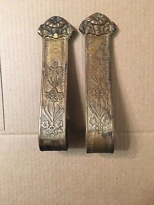 Antique Art Nouveau Cast Brass Or Bronze Curtain Tie Backs Arts & Crafts Floral