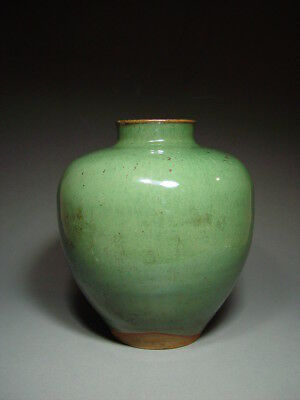 Antique Chinese Green Glazed Pottery Jar, Late Qing Dynasty.