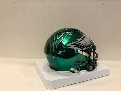 bcbd3f66f52 Zach Ertz Signed Philadelphia Eagles Chrome Mini Speed Helmet Coa/Hologram