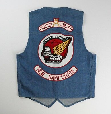 Vintage GWRRA Gold Wing Road Riders Motorcycle Club Denim Vest Cut Patches