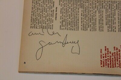 Autographe Serge Gainsbourg 1969 sur Rock and Folk Rare Dédicace Gainsbourg 1969