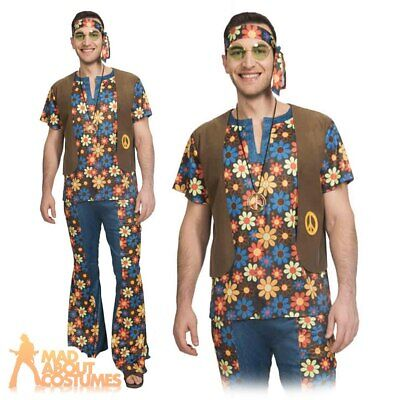 Adult Mens 60s 70s Groovy Hippy Man Costume Hippie Woodstock Fancy Dress Outfit