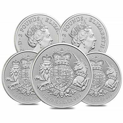 Lot of 5 - 2019 Great Britain 1 oz Silver Royal Arms Coin .999 Fine BU