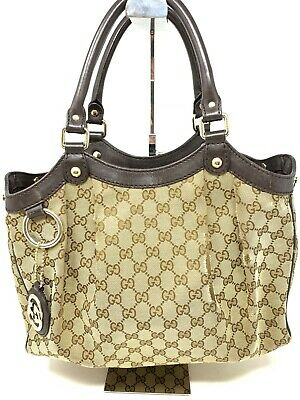 99edddb1e54f Authentic GUCCI Sukey GG Canvas & Leather Handbag with GG Charm Brown Used
