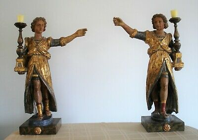 Pair of Venetian Polychrome Wood Figures with Candlesticks Circa 1590