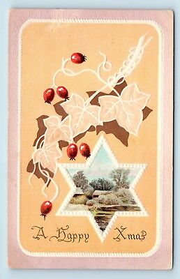 RARE 1900s ARTS & CRAFTS CHRISTMAS STAR POSTCARD - by AS MEEKER of NEW YORK - O2