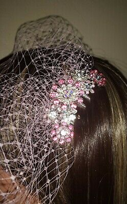 "Pink birdcage veil 9"" with Pink and clear diamante rhinestone comb fascinator #1"