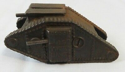 Antique cast Iron WW1 Tank Penny Still Bank
