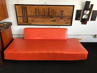 "Mid Century Art Sofa Painting Print Original Walnut Frame By Seivad 63""x23"""