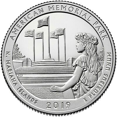 2019- S American Memorial Park  (Bu) Quarter (N.m.i.)  **ready To Ship**