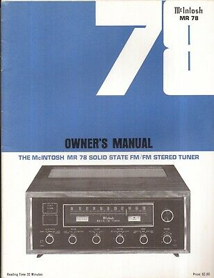McIntosh MR78 Original Owners Manual Museum Quality Money Back Guaranty