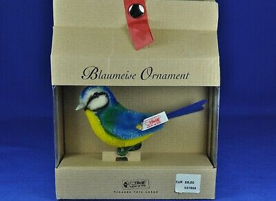 Steiff: Blaumeise / Blue Tit Ornament, 037856, KF / IDs, limit., OVP / orig. box