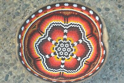 Gorgeous Hand Beaded Huichol Mexican Art Carved Bowl, By Santos Bautista PP569