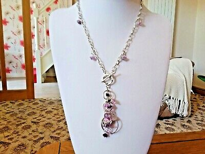 Brand new silver chain necklace with pretty lilac and pink beads