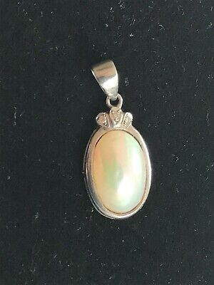 Antique Mother Of Pearl Curved Shell Pendant White Gold Tested Tiny 3 Diamonds