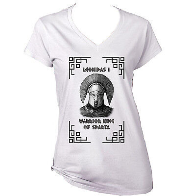 Warrior King Of Sparta Leonidas I - New White Cotton Lady Tshirt