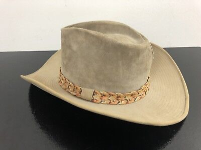 4e63d040fe729 Resistol Self Conforming Western Hat Size 7 Ranchman Suede Leather Braided  Rope