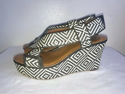 LUCKY BRAND KOKO Black & White Woven Tribal Wedge Platform
