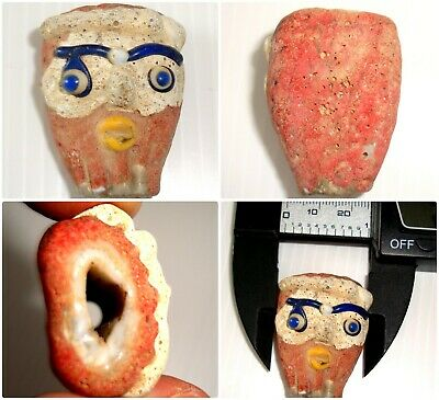 Ancient Phoenician Head Bearded Face Mosaic Glass Bead Roman Pendant 415