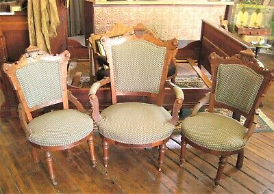 Victorian 3 Piece Parlor Set: Three matching Parlor chairs
